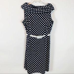 Tahari Navy & white Polkadot Dress Size 16